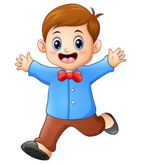 Vectorillustratie van gelukkige jongensbeeldverhaal