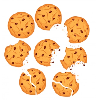 Vectorillustratie van geplaatste chocoladekoekjes. verschillende vormen havermoutkoekjes met chocoladedruppels en kruimels