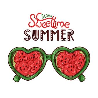 Vectorillustratie van glazen met watermeloen in plaats van lenzen.