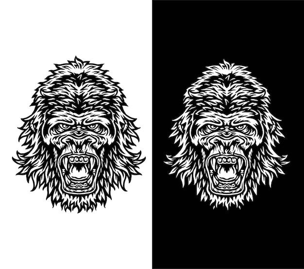 Vectorillustratie van gorilla, geïsoleerd op donkere en lichte achtergrond