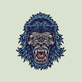 Vectorillustratie van gorilla, hand getrokken lijnstijl met digitale kleur, illustratie
