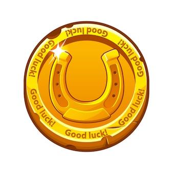 Vectorillustratie van gouden munt hoefijzer geluk. oude munt voor st patricks dag.