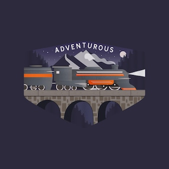 Vectorillustratie van grafisch logo ontwerpsjabloon met trein draait op stenen brug tegen bergtoppen en sterrenhemel met avontuurlijke inscriptie geïsoleerd op donkere achtergrond