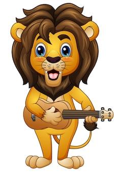 Vectorillustratie van grappige leeuwbeeldverhaal het spelen gitaar