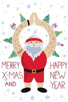 Vectorillustratie van grappige sportieve kerstman in rode korte broek met tatoeages op zijn handen, geïsoleerd op een witte achtergrond