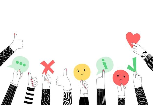 Vectorillustratie van handen met feedback. gebruikerservaring klantbeoordeling. gebruikerstevredenheid.