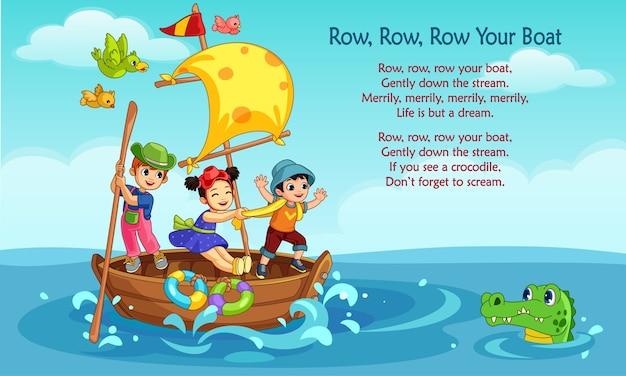 Vectorillustratie van het gedicht 'rij, rij, roei uw boot'