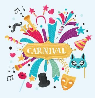 Vectorillustratie van het ontwerp van de carnavalskermis