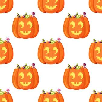 Vectorillustratie van het patroon van de pompoen op een witte achtergrond. mooi inpakpapier voor halloween. eindeloze tekening van mooie gezichten.