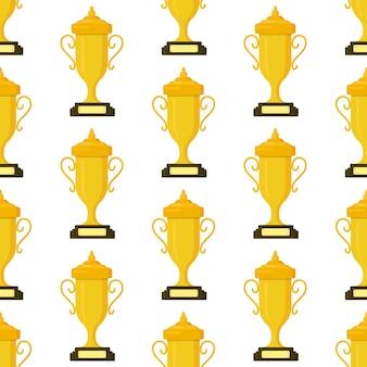 Vectorillustratie van het patroon van gouden bekers geïsoleerd op een witte achtergrond. olympisch kampioen. naadloze tekening van kopjes voor de eerste plaats. winnaar