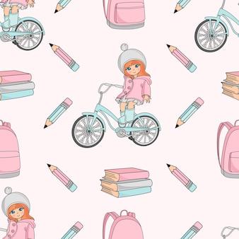 Vectorillustratie van het school de naadloze patroon meisje op fiets