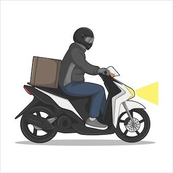 Vectorillustratie van het verzenden van goederen per motor