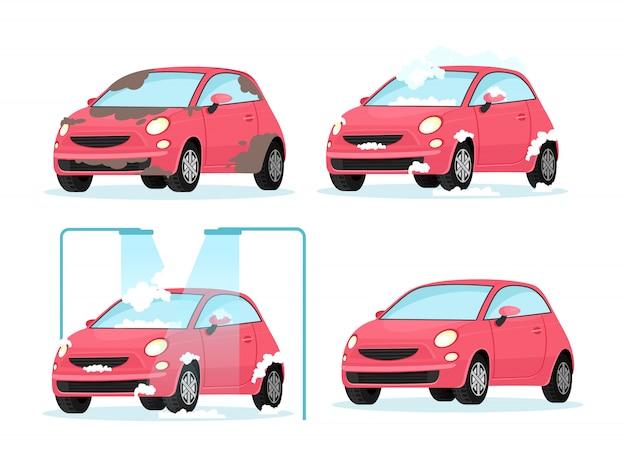 Vectorillustratie van het wassen van vuile auto proces. concept voor auto wasservice op witte achtergrond in platte cartoon stijl.