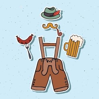 Vectorillustratie van hipster oktoberfest elementen instellen. oktoberfest viering ontwerp op gestructureerde achtergrond. hand geschetst oktoberfest pictogrammen. hand getrokken bierfestival decoratie badges.
