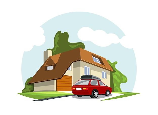 Vectorillustratie van huis gevel moderne stijl met bomen en auto