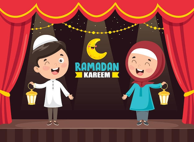 Vectorillustratie van islamitische kinderen vieren ramadan