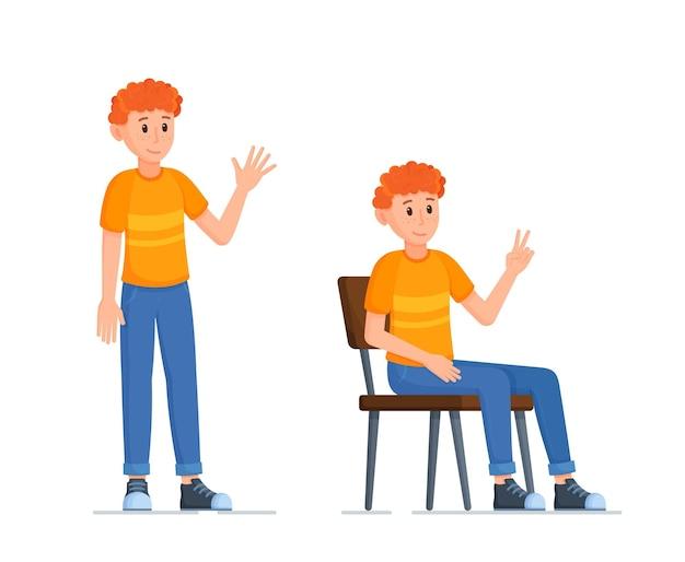 Vectorillustratie van karakter poses. een jongen die op een stoel zit te zwaaien en op zijn voeten staat. verschillende poses voor foto.