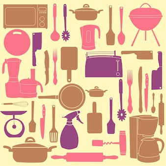Vectorillustratie van keukengerei om te koken