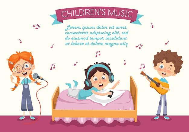 Vectorillustratie van kid muziek luisteren