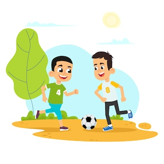 Vectorillustratie van kind voetballen in de speeltuin