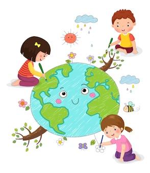 Vectorillustratie van kinderen die de aarde tekenen