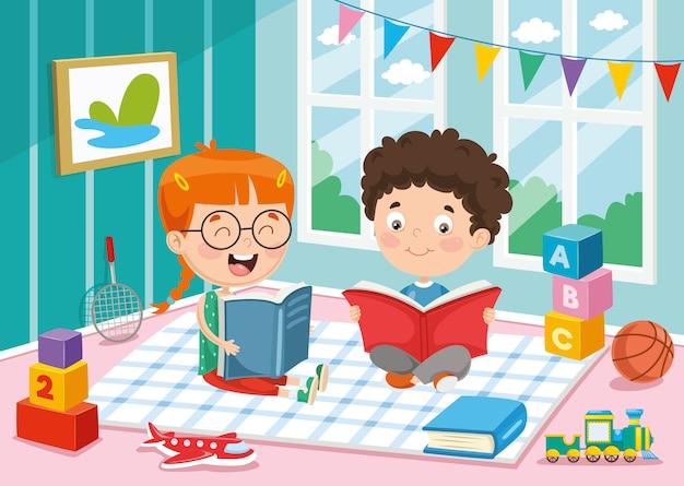 Vectorillustratie van kinderen lezen van boek