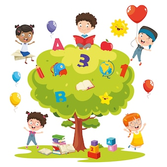 Vectorillustratie van kinderen studeren op boom