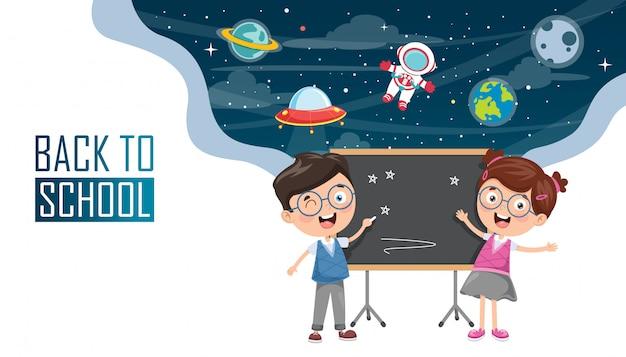 Vectorillustratie van kinderen terug naar school