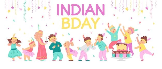 Vectorillustratie van kinderen verjaardag indiase partij platte cartoon stijl uitnodiging tag kaart