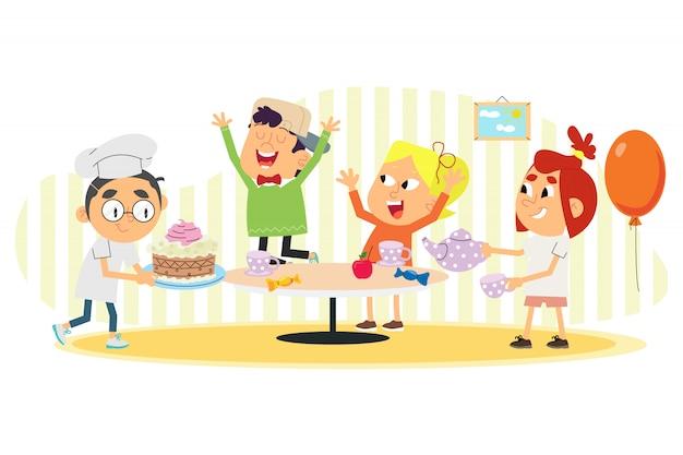Vectorillustratie van kinderen vieren verjaardag