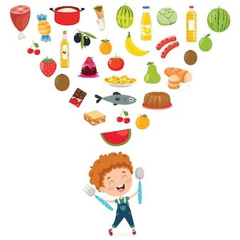 Vectorillustratie van kinderen voedsel concept