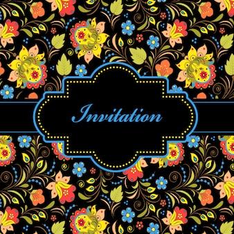 Vectorillustratie van kleurrijke bloemenuitnodigingskaart