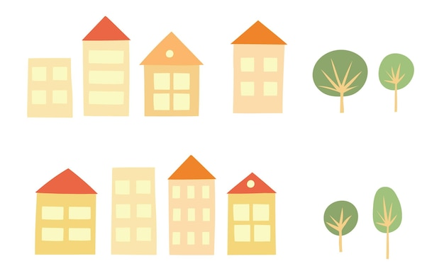 Vectorillustratie van koele huispictogrammen die op witte achtergrond worden geïsoleerd. set van platte huizen