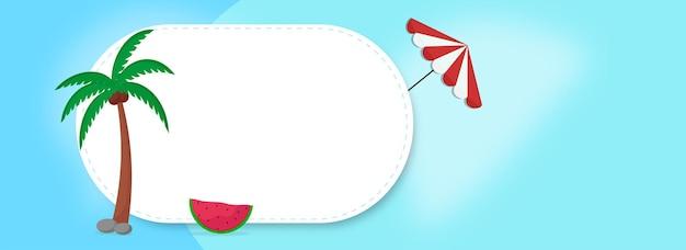 Vectorillustratie van kokospalm met watermeloen slice, paraplu en kopie ruimte op blauwe achtergrond.