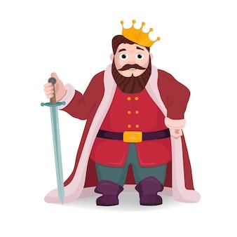 Vectorillustratie van koningskarakter, ridder het stellen met zwaard en kroon