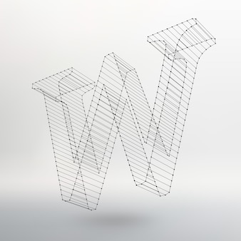 Vectorillustratie van letter l op witte achtergrond. lettertypen van mesh veelhoekig. draadframe contour alfabetten.