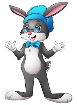 Vectorillustratie van leuk konijntjesmeisje hipster