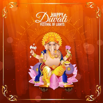Vectorillustratie van lord ganesha voor gelukkige diwali