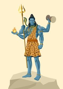Vectorillustratie van lord shiva staande bovenop een rots, indiase god van hindoe