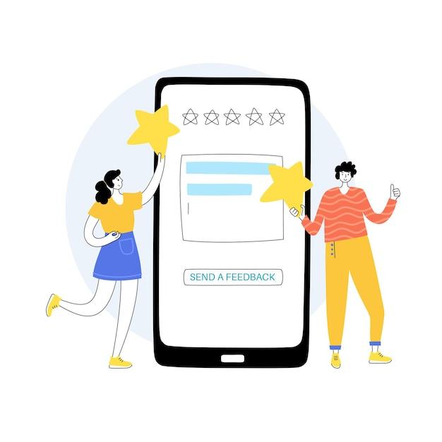 Vectorillustratie van man en meisje met smartfone die sterren, feedback en waardering geeft