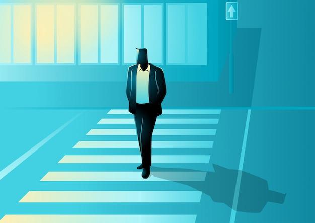 Vectorillustratie van man figuur lopen op zebrapad