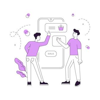 Vectorillustratie van mannelijke vrienden die koopwaar selecteren en aankopen doen op smartphone