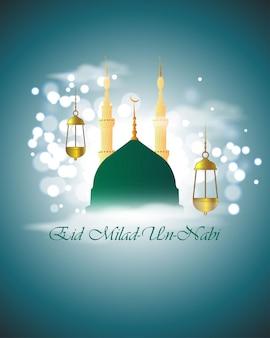 Vectorillustratie van mawlid unnabi mubarak groet