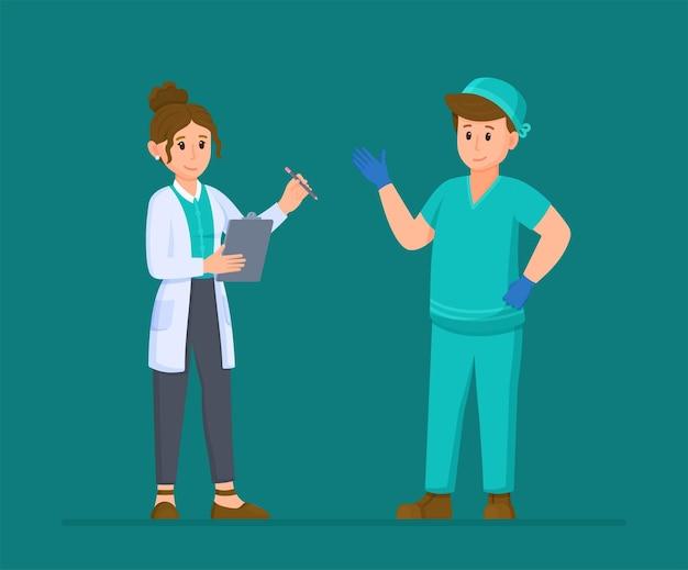 Vectorillustratie van medisch interview twee geïsoleerde artsen op een turkooizen achtergrond