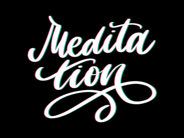 Vectorillustratie van mijn therapie is meditatie. belettering poster voor yogastudio en meditatieklas. leuke letters voor groet en uitnodigingskaart, t-shirt printontwerp.