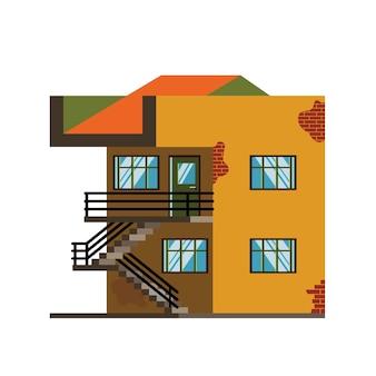 Vectorillustratie van modern huis in vlakke stijl
