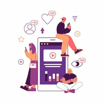 Vectorillustratie van moderne mannen en vrouwen die populaire video op apparaten bekijken en promoten tijdens het browsen op sociale media in de buurt van een enorme smartphone