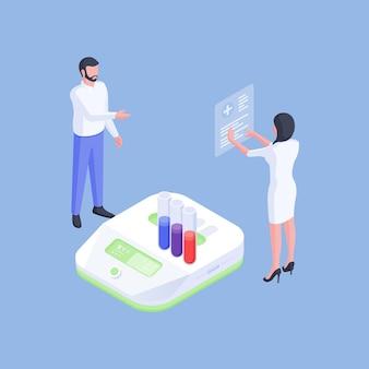 Vectorillustratie van moderne medische wetenschappers die reageerbuizen en resultaten van nieuwe medicijnen onderzoeken tijdens het werken met moderne apparatuur in het laboratorium