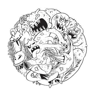 Vectorillustratie van monster fight club