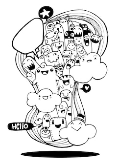 Vectorillustratie van monsters en buitenaardse schattige doodle set